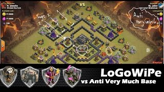 LoGoWiPe vs Anti VeryMuch Base TH9 for 3 stars | Clan Wars | Clash Of Clans HD
