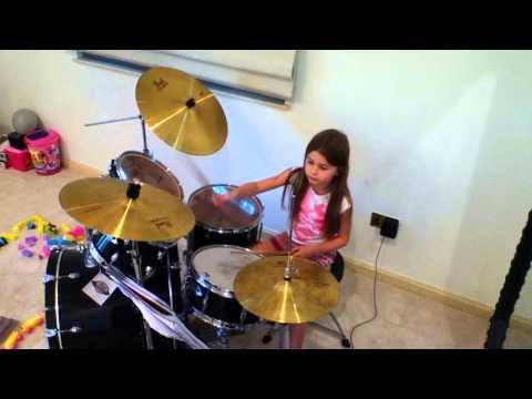 Green Day  Boulevard of Broken Dreams  5yOld Girl  Drum