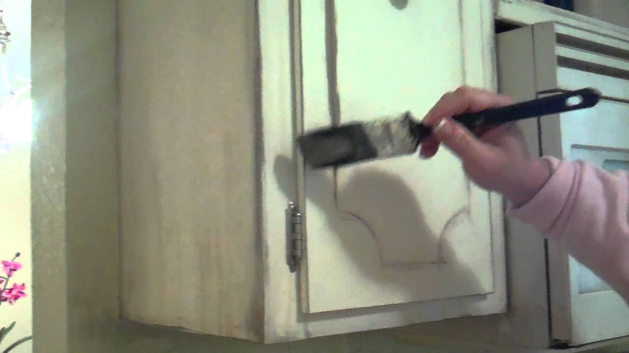 distressed white kitchen cabinets.  How to Distress Kitchen Cabinets YouTube