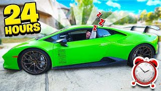 SPENDING 24 HOURS IN MY LAMBORGHINI CHALLENGE!