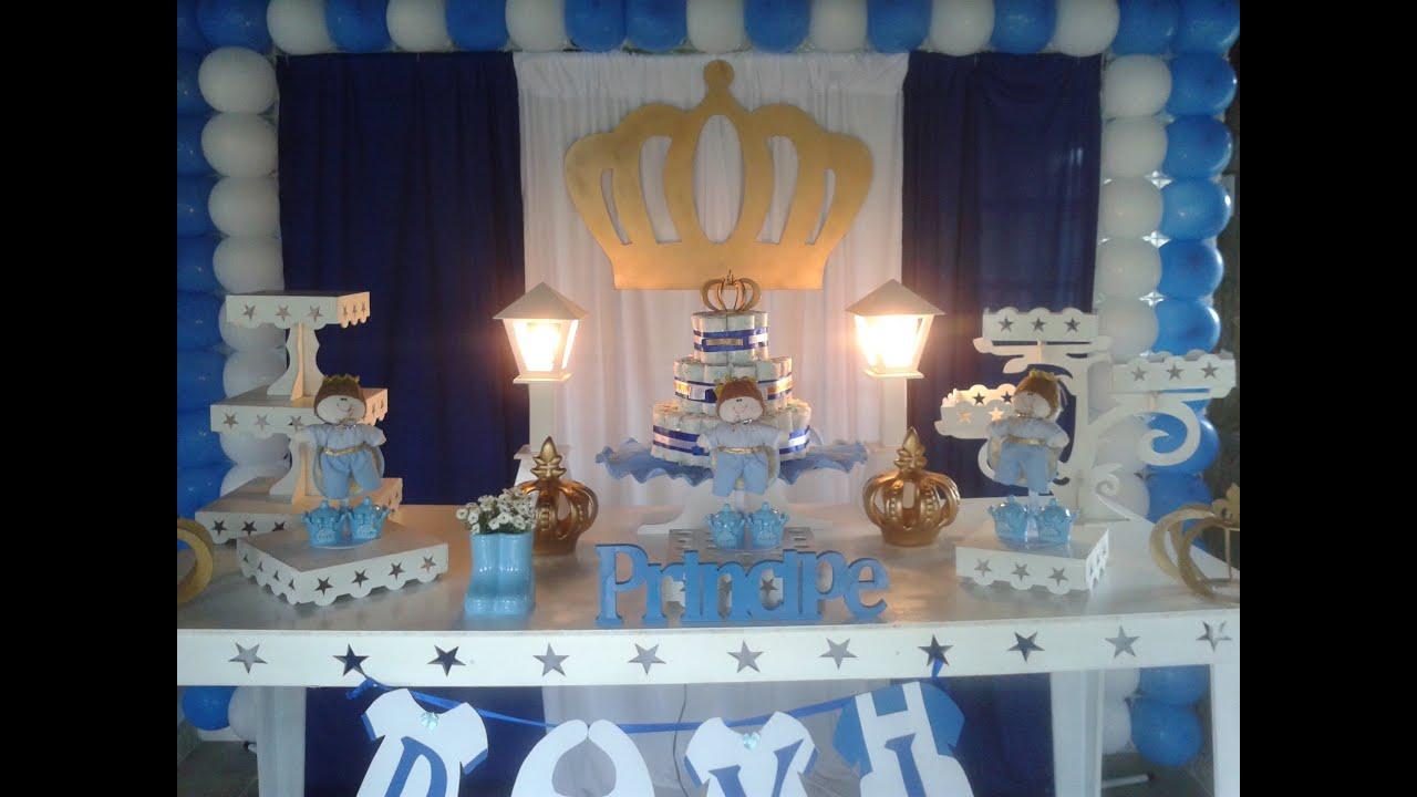Decoraç u00e3o Chá de Beb u00ea menino Príncipe YouTube -> Decoração Cha De Bebe Ursinho Principe Simples