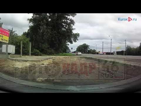 В Курской области тополь упал прямо перед двигающимся авто