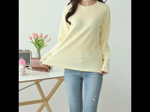데일리앤 메이봄 라운드 루즈핏 골지 티셔츠
