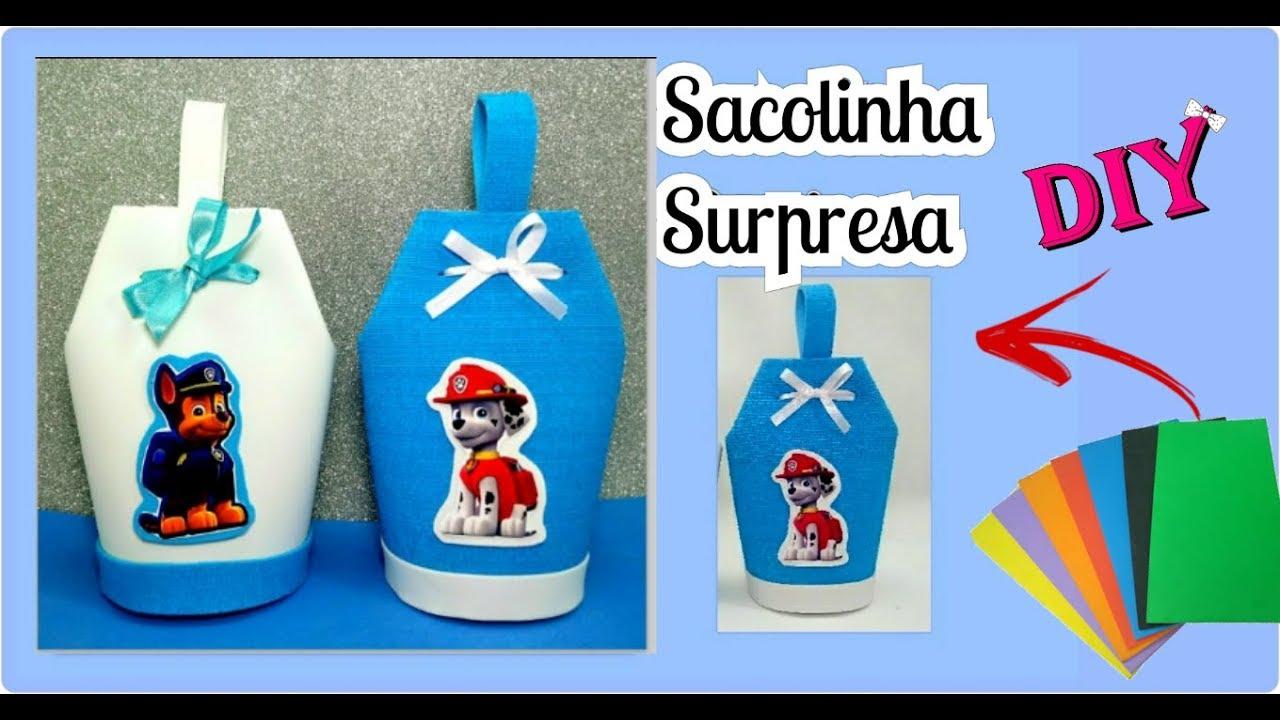 Armario Pequeno Para Banheiro ~ SACOLINHA SURPRESA de EVA Lembrancinha rápida e fácil