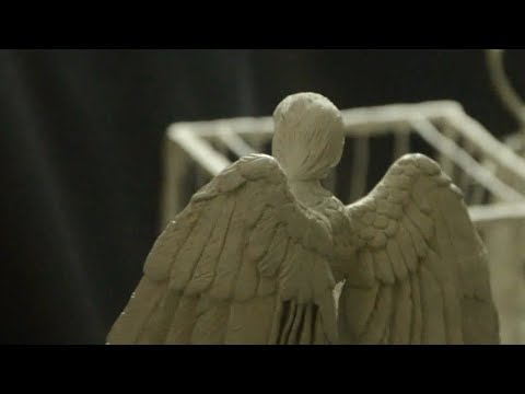 Surreal Sculpture   Caged man and an Angel - part 4 (Wings & hair)