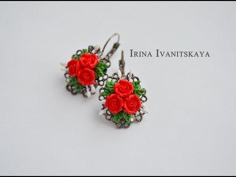 Красные розы - ПОЛИМЕРНАЯ ГЛИНА - мастер класс. Irina Ivanitskaya