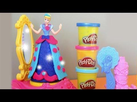Play Doh Disney Princess Spin Amp Style Cinderella Set Youtube