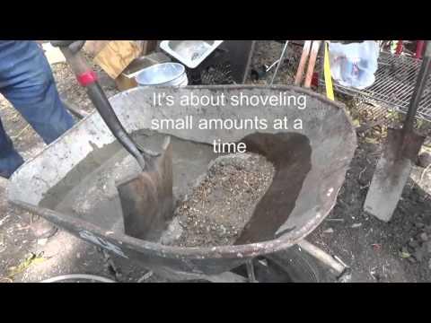 Mixing an 80 lb bag of concrete