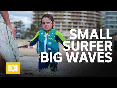 A small surfer makes big waves. (6 year old Quincy Symonds aka 'The Flying Squirrel')