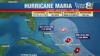 Hurricane Maria intensifies to Category 5, moving over Dominica