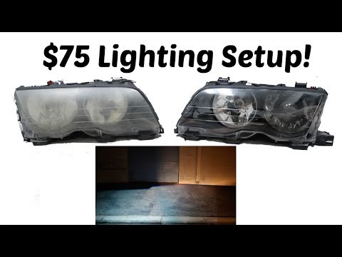 BEST BUDGET LIGHTING SETUP FOR YOUR BMW! Projector/HID Retrofit! $75!