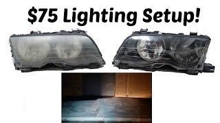 BEST BUDGET LIGHTING SETUP FOR YOUR BMW! Projector/HID Retrofit! $75!