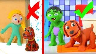 SUPERHERO BABIES BATH DOGGY CHALLENGE ❤ SUPERHERO PLAY DOH CARTOONS FOR KIDS