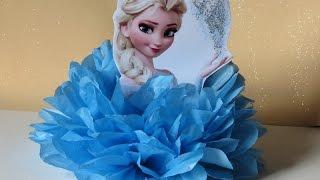 DIY: Enfeite de mesa,com papel de seda, Elsa (Frozen)