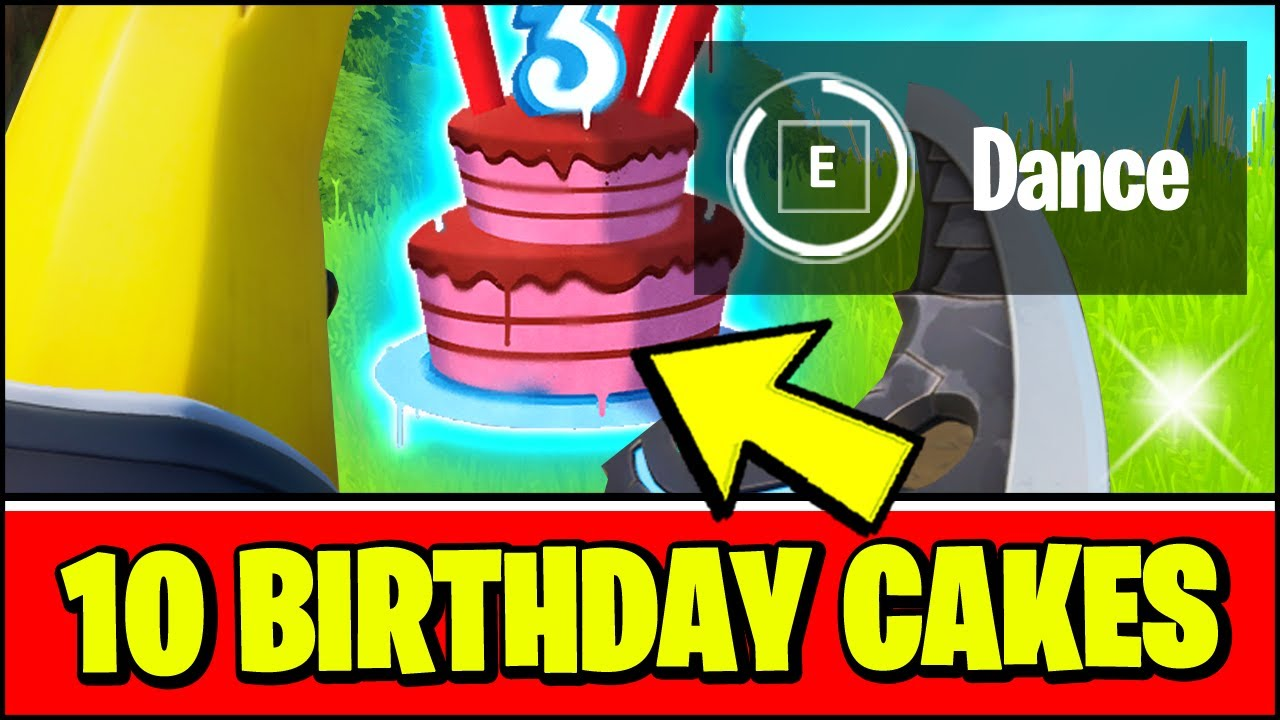 Dance In Front Of Different Birthday Cakes Fortnite 3rd Birthday Bash Challenges Youtube