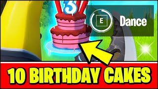 Dance in Front of Different Birthday Cakes - Fortnite 3rd Birthday Bash Challenges