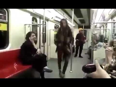 A girl Dance in Tehran metro