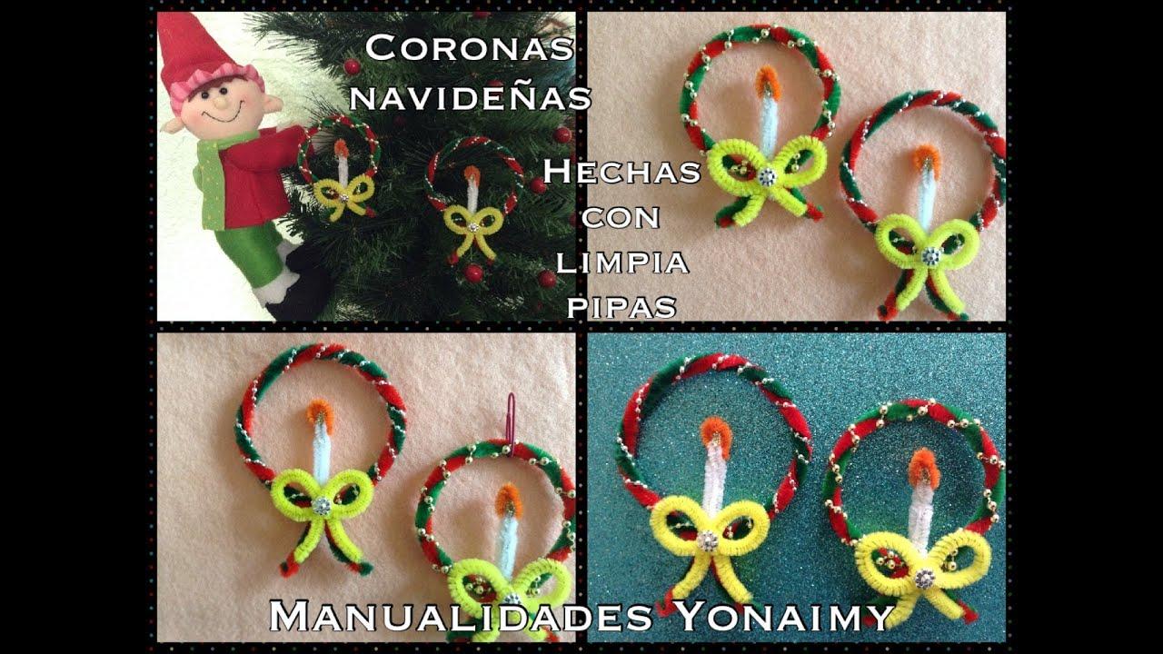 Coronas navide as hechas con limpia pipas youtube for Caracol de jardin de que se alimenta