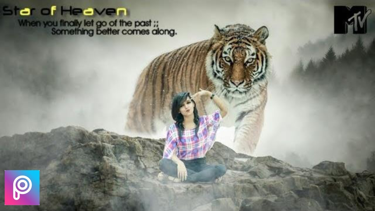 Best Of Picsart Editing Tutorials || The Crazy Girl With Tiger Fantasy  Photo Manipulation