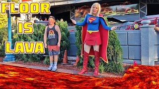 FLOOR IS LAVA CHALLENGE AT AMUSEMENT PARK (FT WONDER WOMEN)