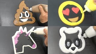 Emoji Pancake Art - Poop, Heart Eyes, Unicorn, Panda