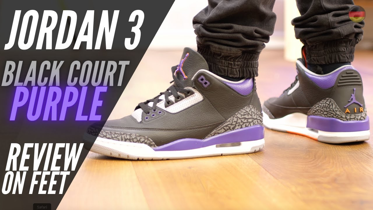 Nike Air Jordan 3 Black Court Purple ON FEET   REVIEW   BEWERTUNG