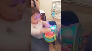 Sophia Playing With Her New Drum Toy