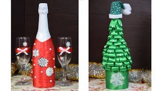 DIY НОВОГОДНИЙ ДЕКОР своими руками# Как украсить бутылку# New Year  Christmas decorations