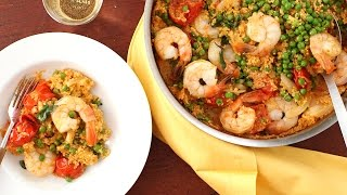 Coconut-Curried Shrimp with Couscous & Peas