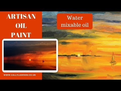 Water mixable oil paint – beginners painting demonstration – seascape sunset & boat