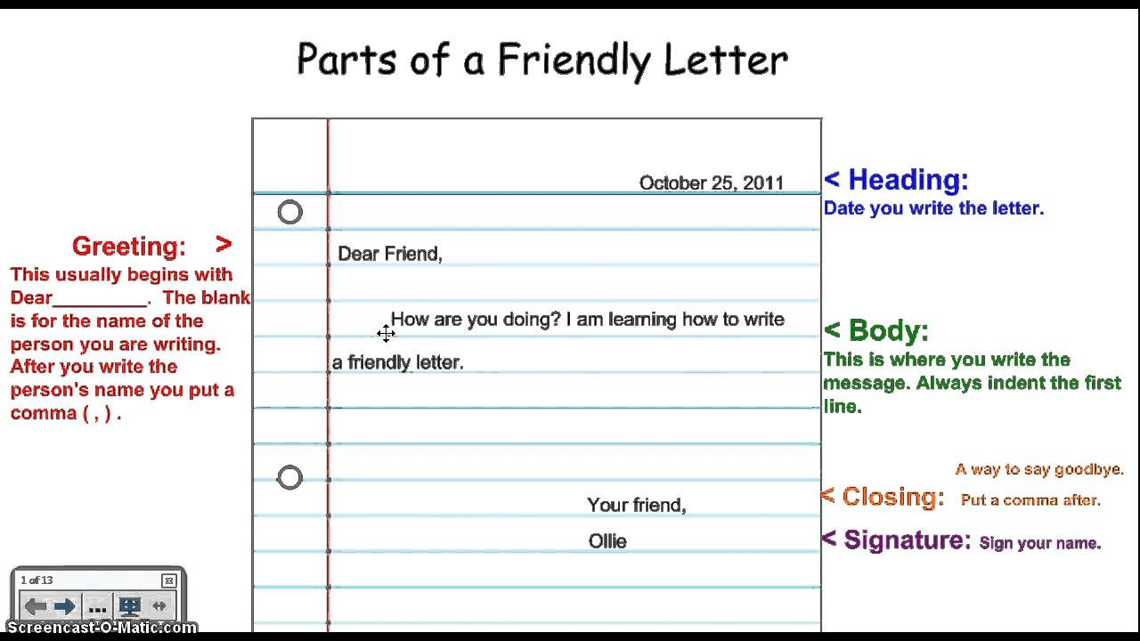 letter writing format for friend writing a friendly letter 12008