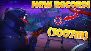 (1 KM!!) NEW SNIPER LONGEST KILL WORLD RECORD! HUNTING RIFLE WORLD RECORD! | Fortnite BR Playground
