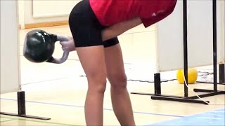 Ksenia Dedyukhina - kettlebell snatch technique (Finland, World championship 2010)