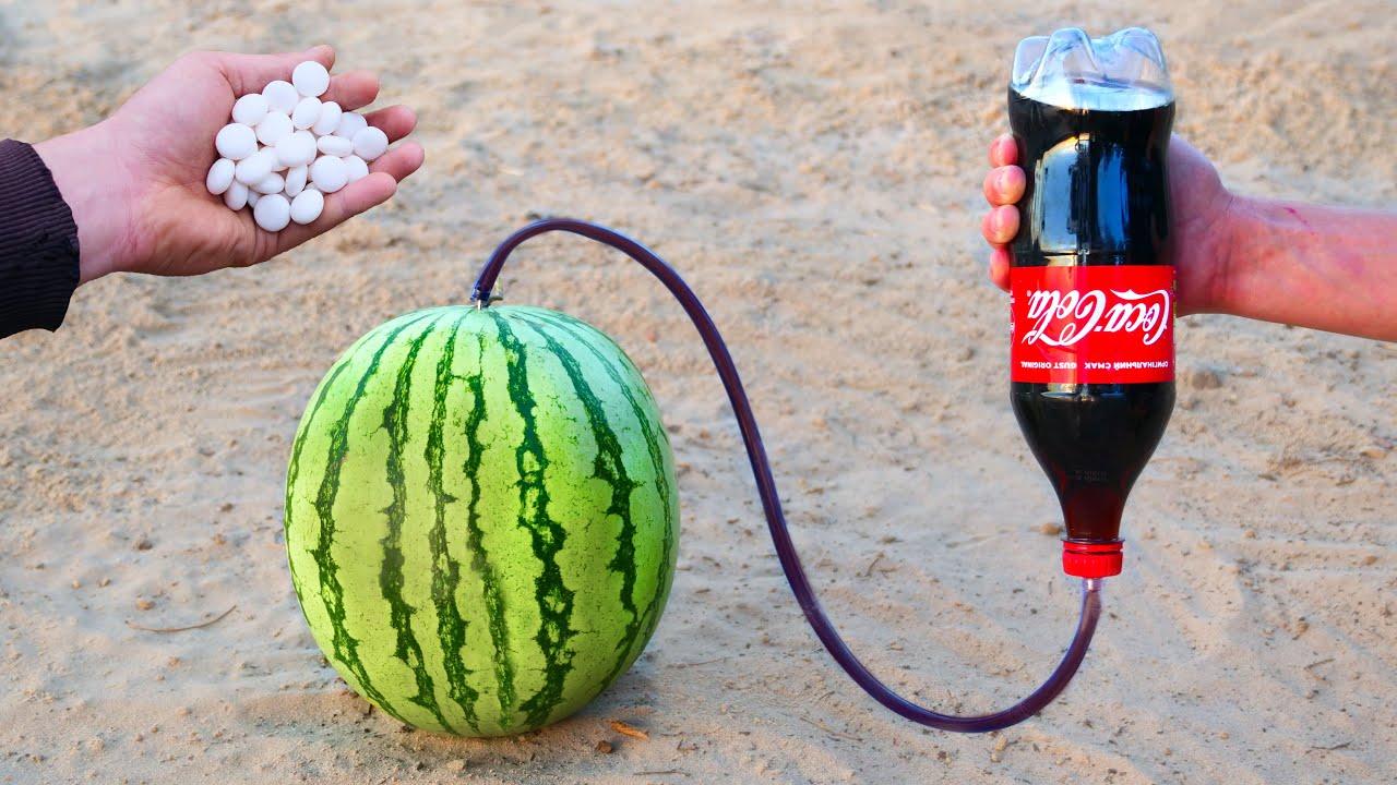 Experiment: Cola and Mentos vs Watermelon