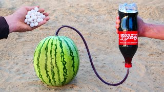 Experiment: Cola and Mentos vs Watermelon
