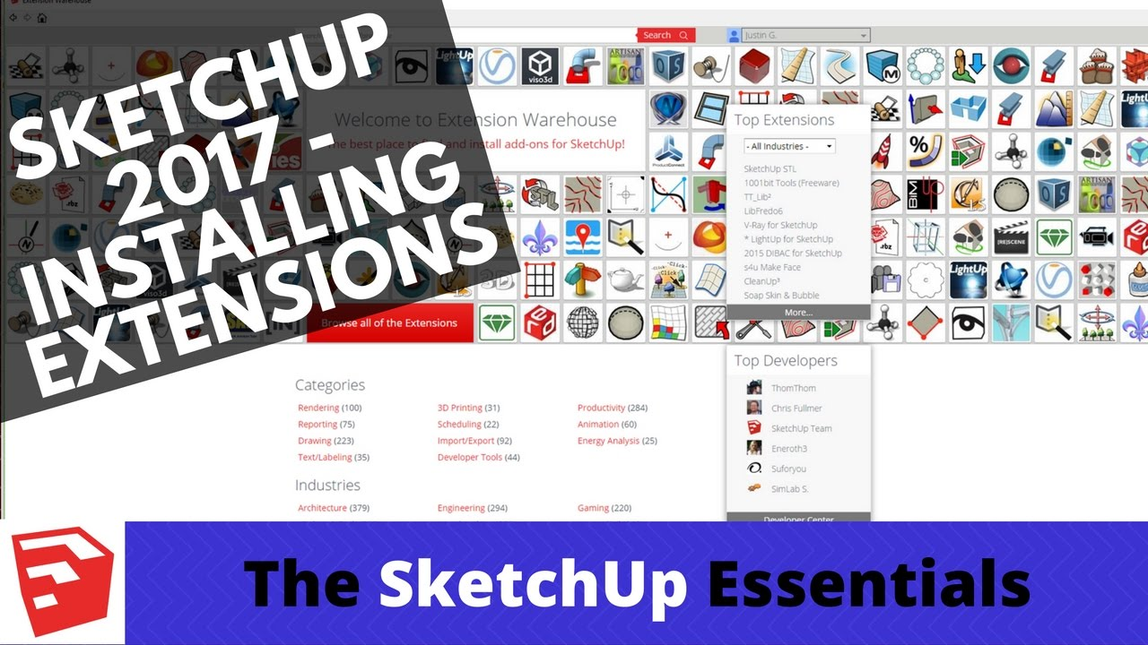 How to use the Extension Manager in SketchUp 2017 - The SketchUp Essentials  #16