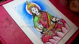 How to Draw Goddess Lakshmi Devi Drawing for Kids