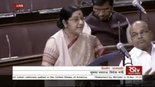 EAM Sushma Swaraj statement in Rajya Sabha regarding hate crimes against Indians in US