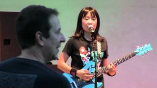 Shonen Knife performs an encore at a summer concert under the Levit...