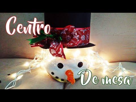 Centro de mesa navideño fácil y bonito/ muñeco de nieve