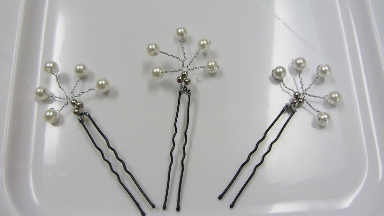 Bridal Pearl Hair Pin Bobby Pin Hairpiece wedding hair clips - YouTube
