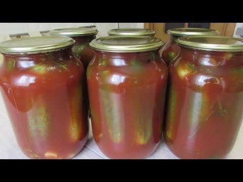 Рецепт хрустящих маринованных огурцов в томатной пасте на зиму