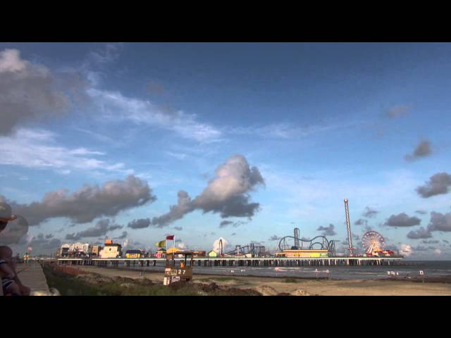 Timelapse: An Evening on the Beach watching the Pleasure Pier on Galveston Island, Texas