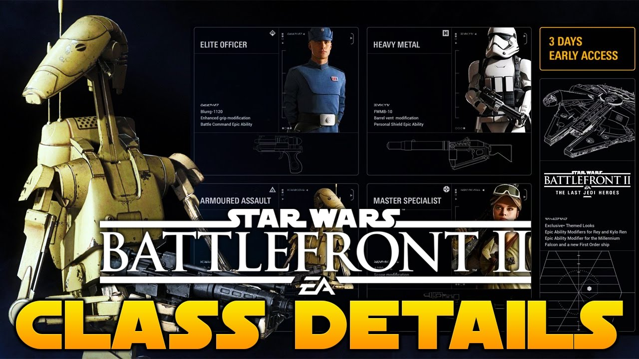 Star Wars Battlefront 2 Classes Heavy Metal Elite Officer Armoured Assault Master Specialist