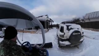 Чистим Снег Гидротрактором! Видео 360! 4k! Gear 360 Video.