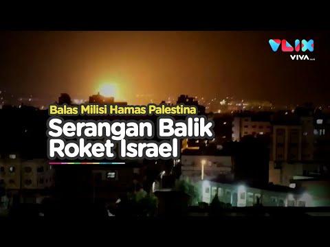 Rekaman Israel Serang Balik Hamas Pakai Roket Di Jalur Gaza