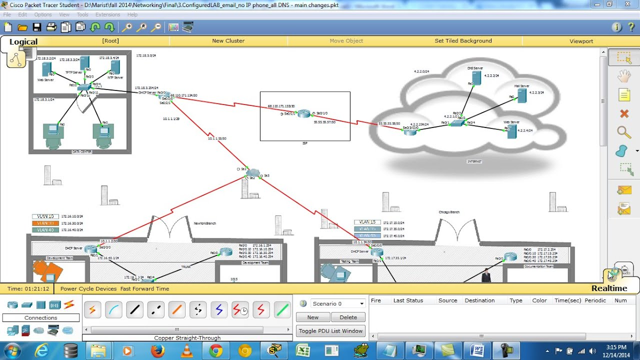 Logical Data Flow Diagram Atwood Rv Furnace Wiring Enterprise Network Design In Cisco Packet Tracer (6.1.1) - Youtube