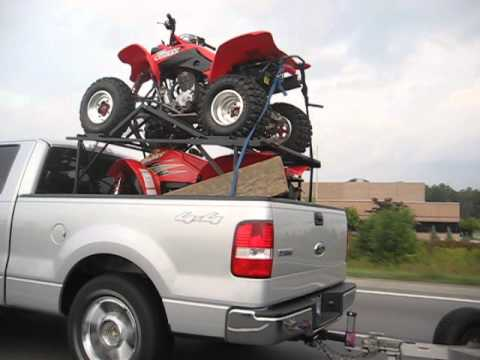 Pickup Truck Racks >> ATV VEHICLE STORAGE AND TRANSPORTATION RACK. New Invention, Hauling 2 or 3 ATV's in a pickup ...