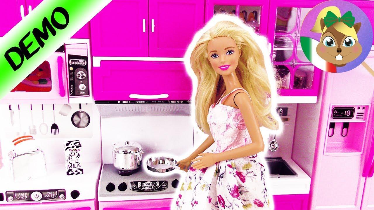 CUCINA di BARBIE italiano | Cucina delle bambole: forno+fornello+ ...