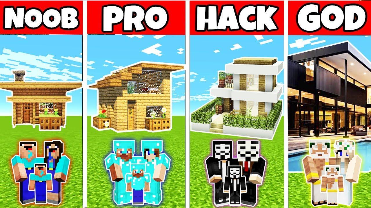 Minecraft: EASY HOUSE BUILD CHALLENGE - NOOB vs PRO vs HACKER vs GOD in Minecraft